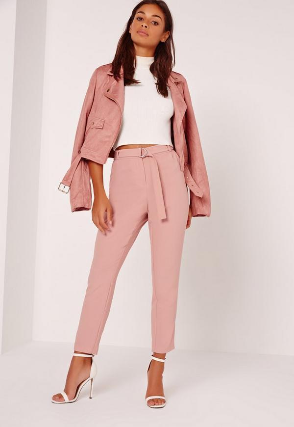 Petite Belt Cigarette Trousers Pink