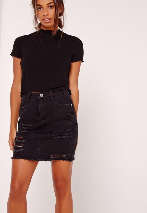Petite Lettuce Hem Cropped T Shirt Black