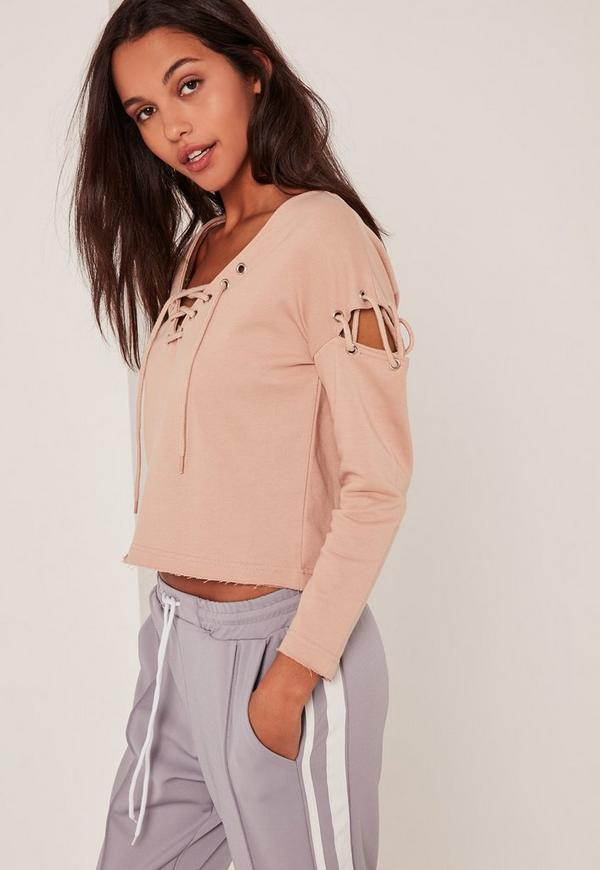 Petite Extreme Brown Lace Up Jumper