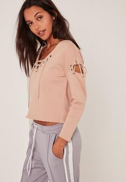 Petite Extreme Brown Lace Up Sweater