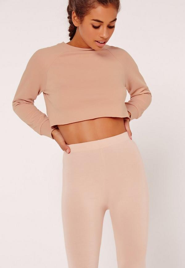 Petite Raglan Sleeve Crop Raw Hem Sweatshirt Nude