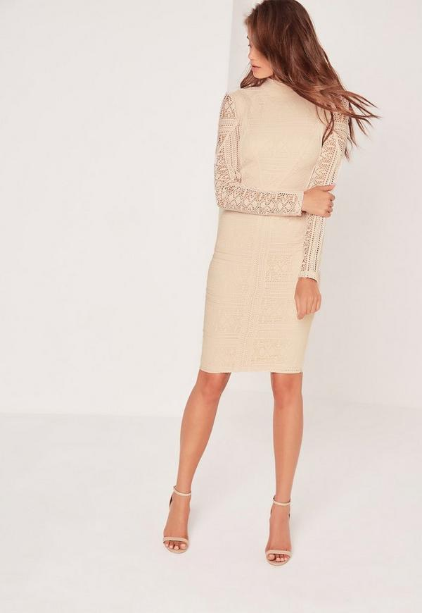 Petite Lace Long Sleeve High Neck Midi Dress Nude