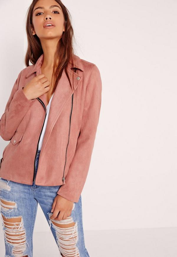Petite Bonded Suede Biker Jacket Rose Pink