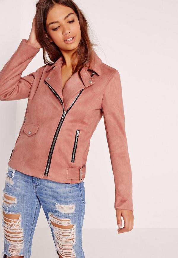 Petite Bonded Suede Biker Jacket Rose Pink | Missguided