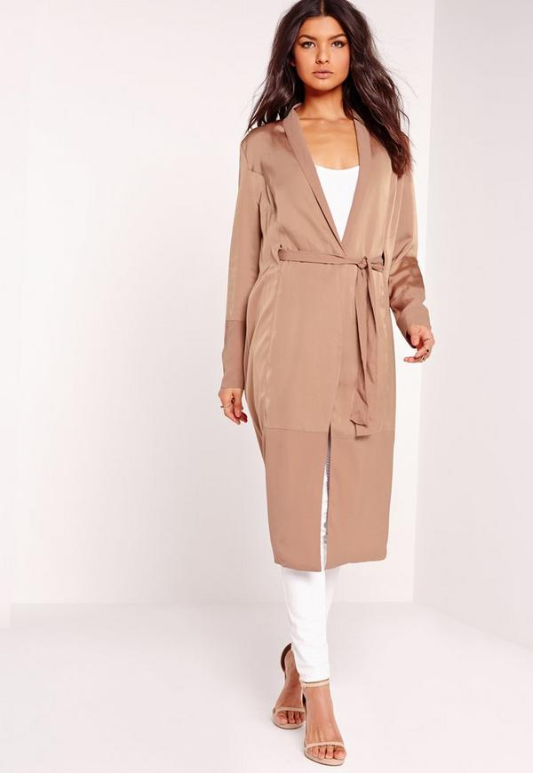 Petite Two Tone Satin Duster Jacket Camel