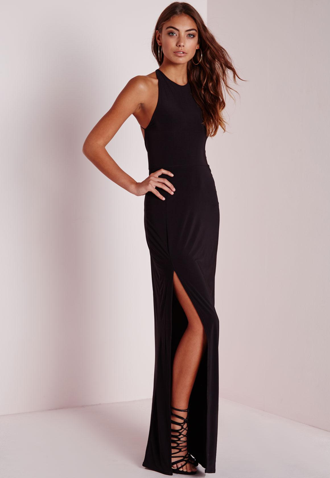 Petite Slinky Side Split Maxi Dress Black | Missguided