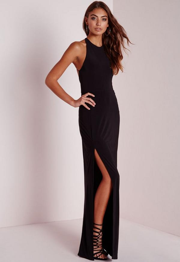 Petite Slinky Side Split Maxi Dress Black
