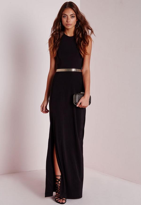 Petite Slinky Side Split Maxi Dress Black - Missguided