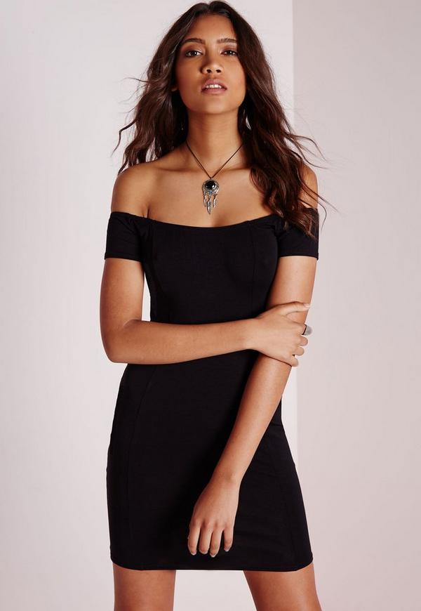Petite Jersey Bardot Bodycon Dress Black