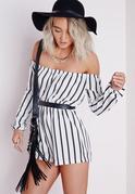 Petite Striped Bardot Playsuit White