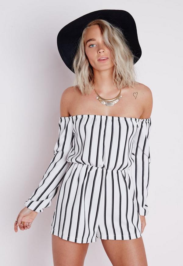 Petite Striped Bardot Playsuit White Missguided