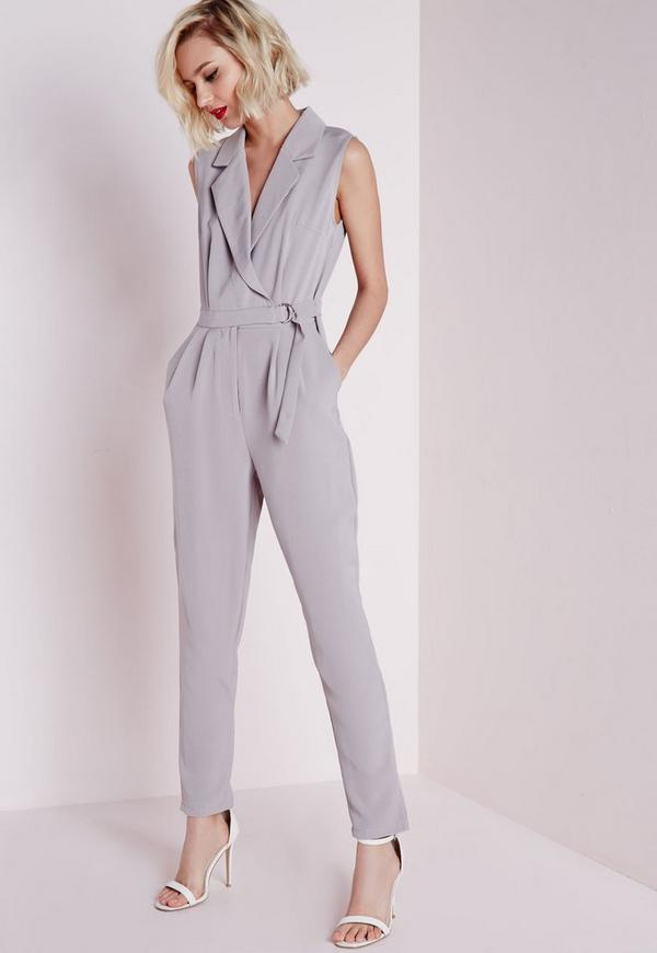 Petite D Ring Sleeveless Jumpsuit Grey Missguided