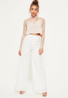 Pantalon en crêpe blanc jambes évasées Petite
