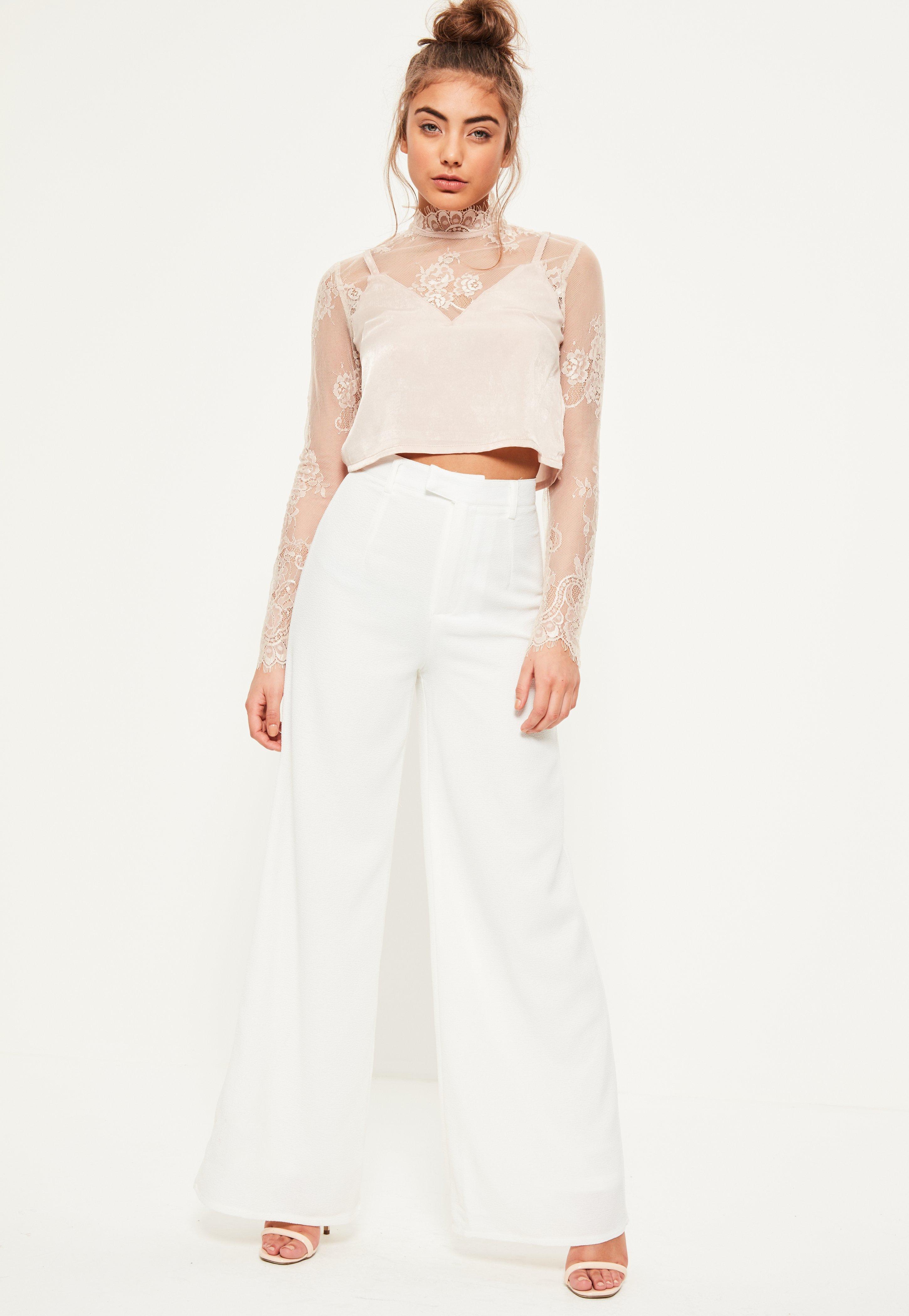 5a050deb3aec Petite Premium Crepe Wide Leg Pants White