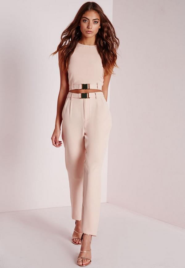 Petite Gold Buckle Detail Cigarette Trousers Nude
