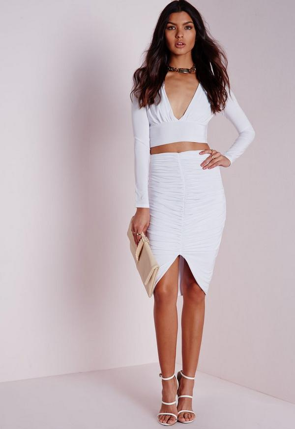 Petite Slinky Ruched Front Midi Skirt White