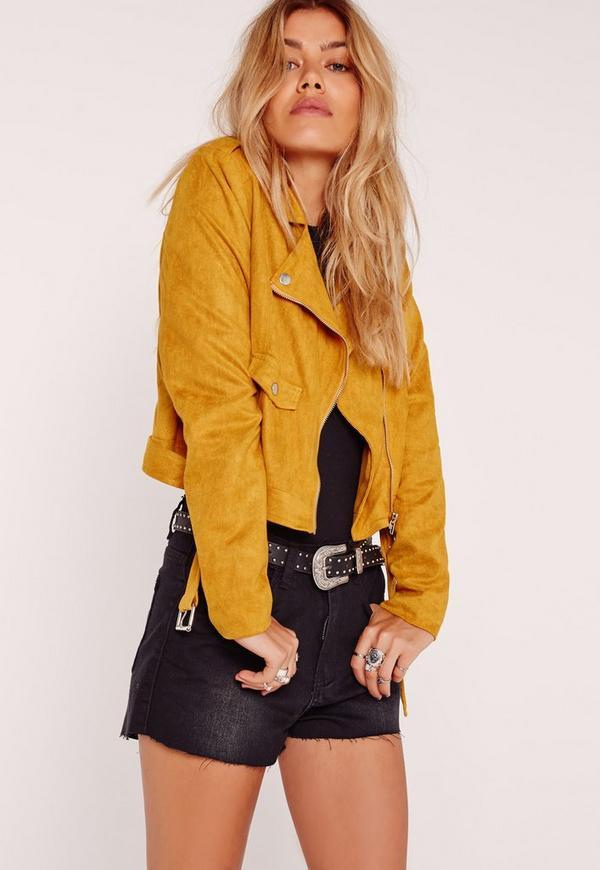 Petite Faux Suede Biker Jacket Mustard