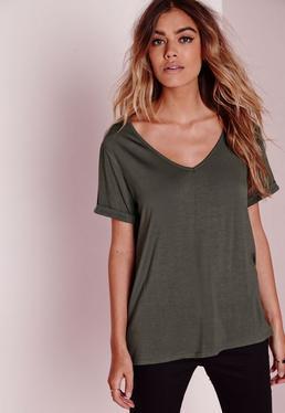 T-shirt boyfriend vert kaki col en V Petite