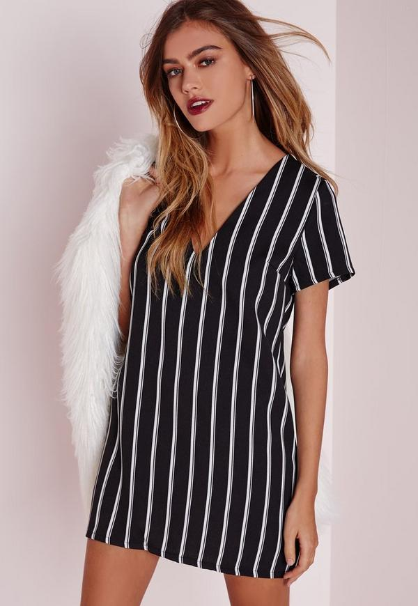 Petite Oversized V Neck Striped Shift Dress Black