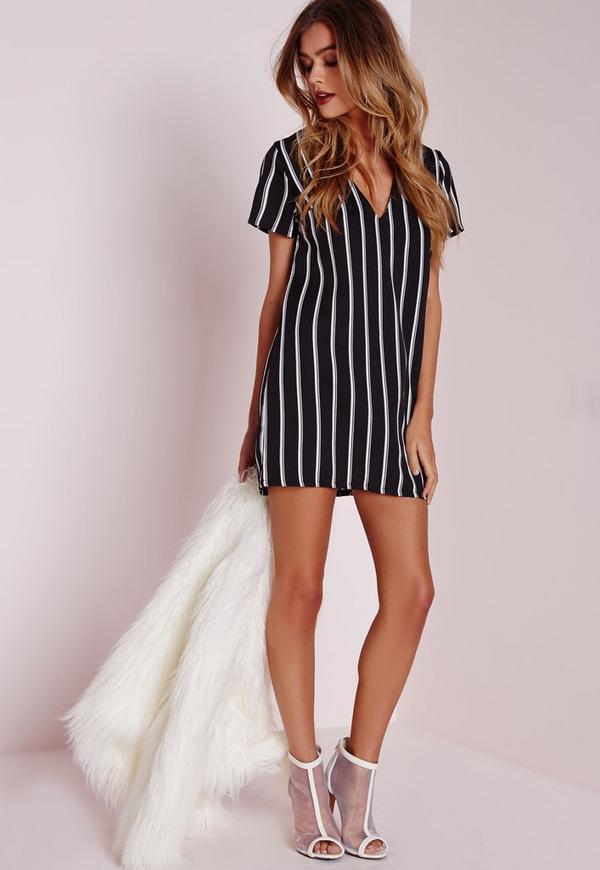 Petite Oversized V Neck Striped Shift Dress Black Missguided