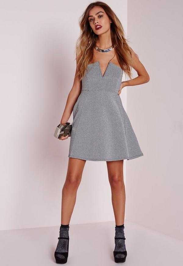 Petite Silver Skater Dress Silver