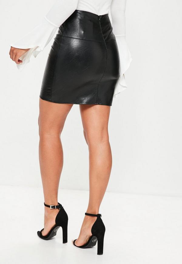 Petite Faux Leather Mini Skirt Black | Missguided