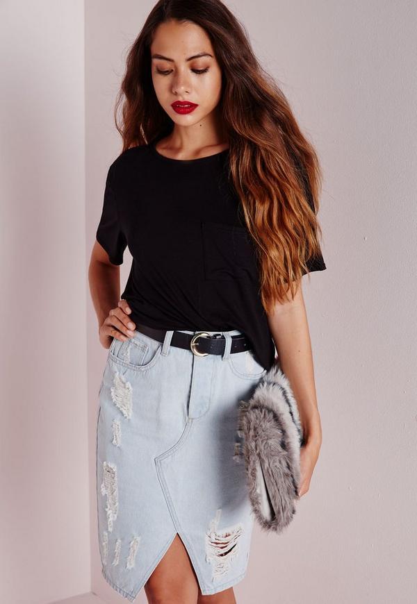 Petite Basic Pocket T Shirt Black