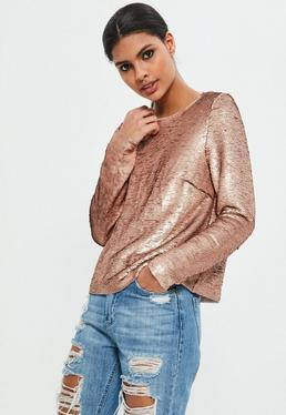 Złoty cekinowy ekskluzywny top z długimi rękawami
