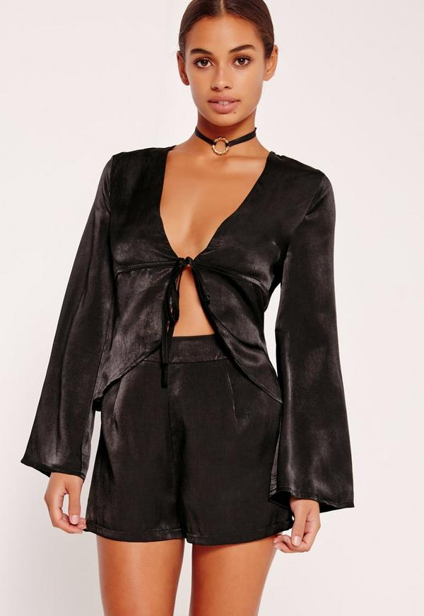 Petite Exclusive Satin Shorts Black