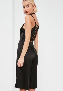 Petite Satin Black Lace Up Culotte Jumpsuit
