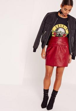 Petite Exclusive Red Faux Leather Belted Mini Skirt
