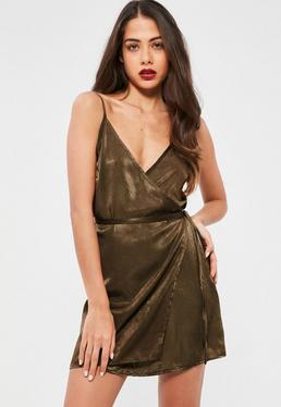 Petite Khaki Satin Wrap Over Mini Dress