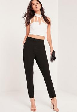 Petite Black Harness Belt Cigarette Pants