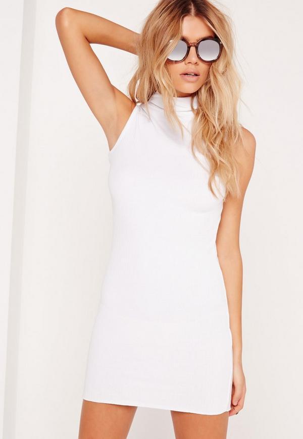 Petite High Neck Ribbed Mini Dress White