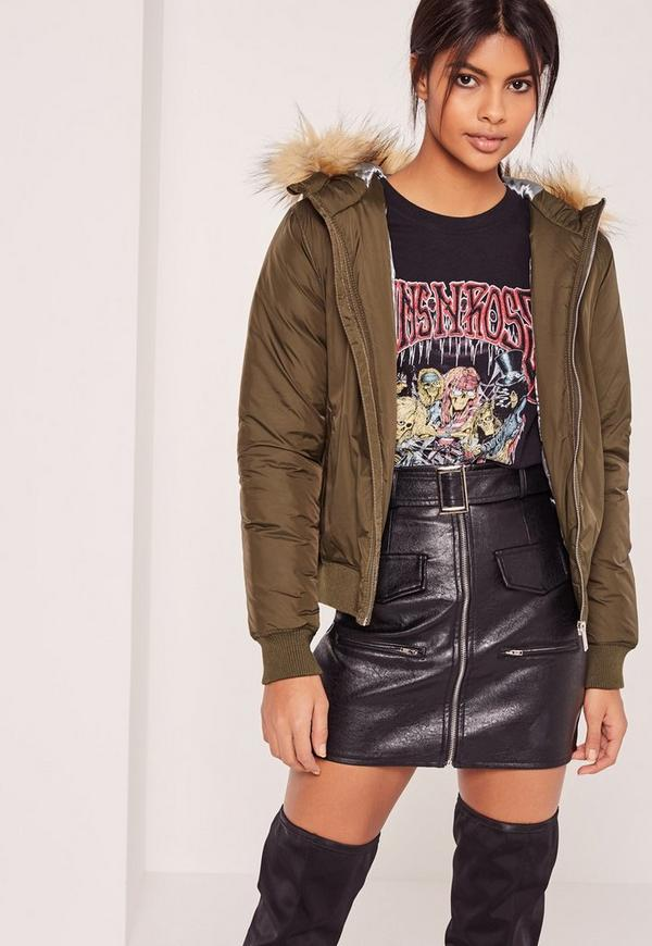 Petite faux fur hood padded bomber jacket khaki