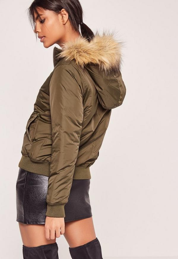 Petite faux fur hood padded bomber jacket khaki | Missguided