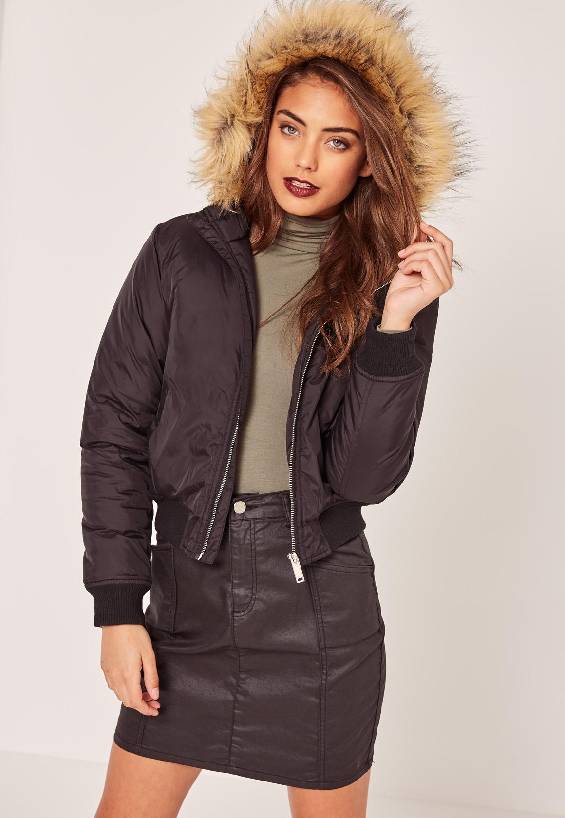 Petite Faux Fur Hood Padded Bomber Jacket Black | Missguided Australia