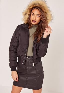 Petite Faux Fur Hood Padded Bomber Jacket Black