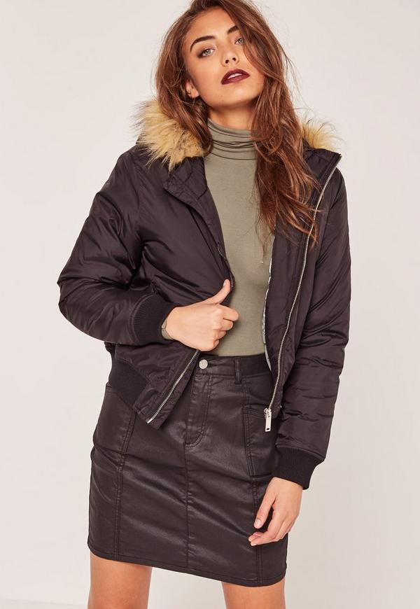 Petite Faux Fur Hood Padded Bomber Jacket Black | Missguided Ireland