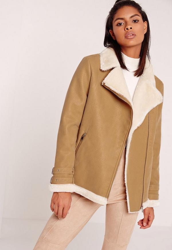 Petite Faux Fur Lined Pilot Jacket Camel
