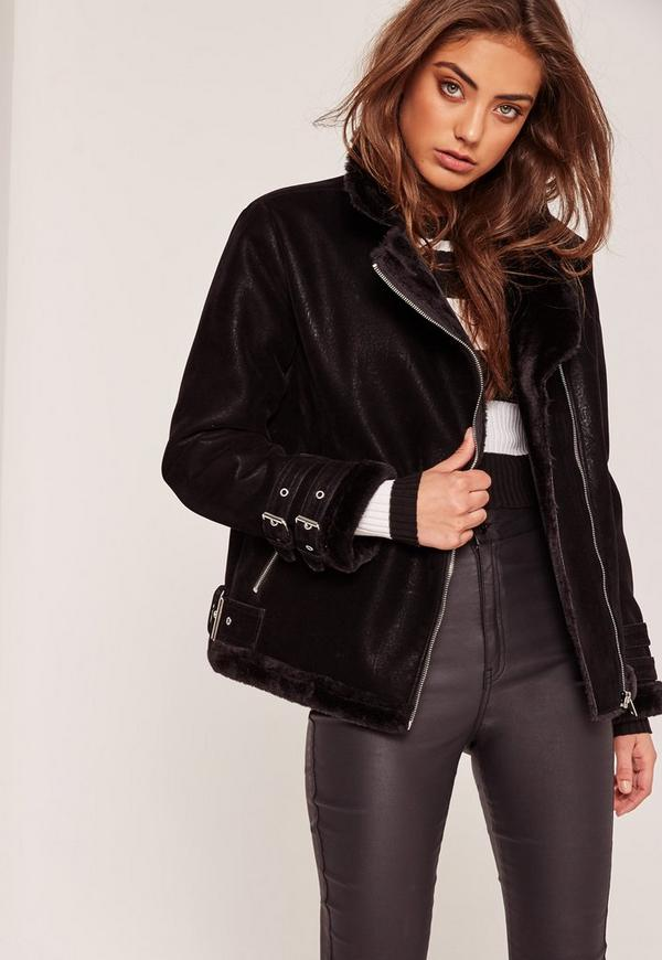 Petite Faux Fur Lined Pilot Jacket Black