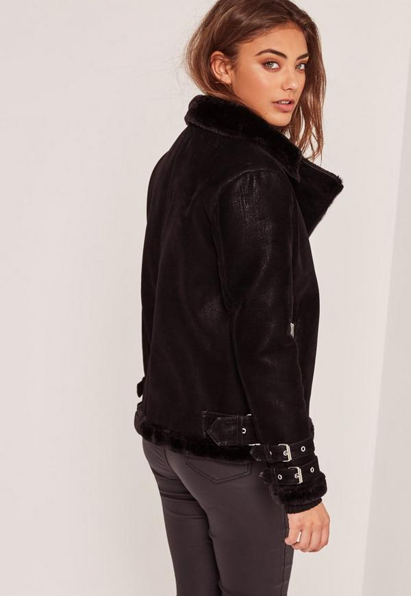 Petite Faux Fur Lined Pilot Jacket Black | Missguided