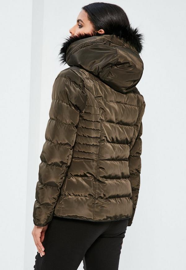 Petite Khaki Pleated Padded Jacket | Missguided