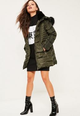 Petite Khaki Longline Padded Jacket