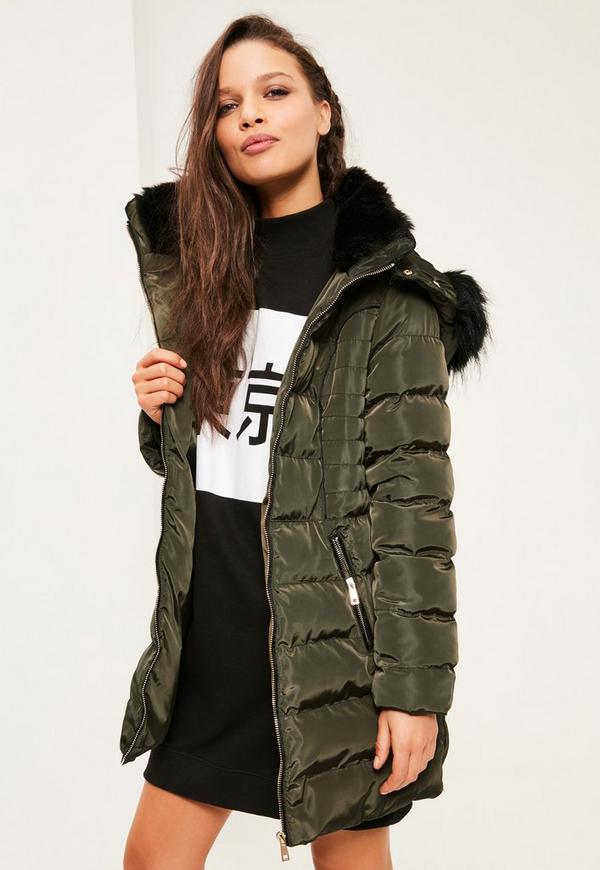 Petite Khaki Longline Padded Jacket | Missguided