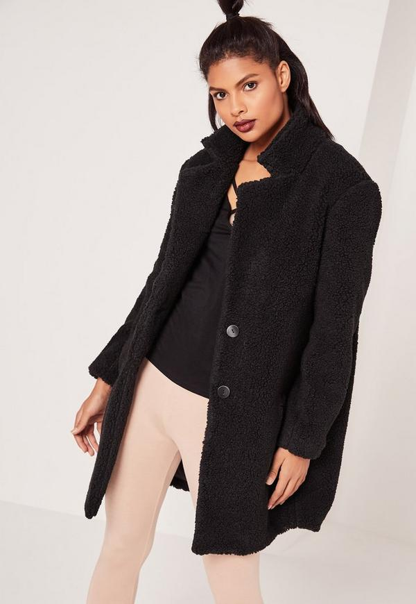 Petite Teddy Sherling Wool Coat Black - Missguided