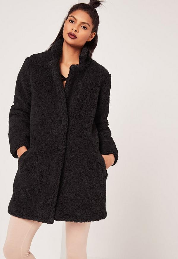 Petite Teddy Sherling Wool Coat Black | Missguided