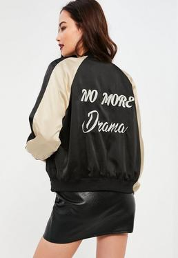 Petite Exclusive Black Slogan Bomber Jacket