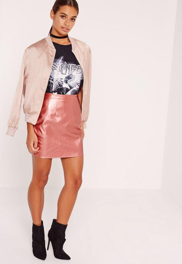 Petite Faux Leather Metallic Mini Skirt Pink