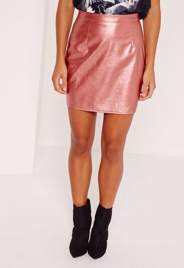 faux leather metallic mini skirt pink missguided